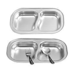해모 포스코생산 스텐 2구 간식 접시 식판 유아식판 아동용