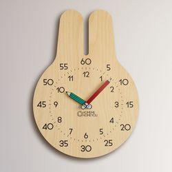 [상세페이지 확인요망] 토끼 우드 어린이 심플 무소음 교육용 벽시계