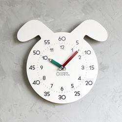 [상세페이지 확인요망] 강아지 어린이 심플 무소음 교육용 벽시계