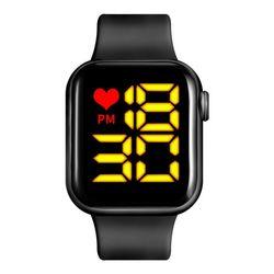 큰 화면 큰 글씨 Yellow LED Digital Black 손목 시계