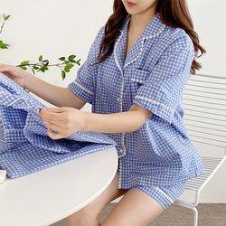 Shopper Check Pajama Set - 커플룩