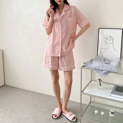 Mimo Check Pajama Set - 커플룩