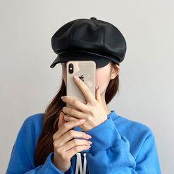 팔각모자 헌팅캡 레트로 가죽 뉴스보이캡 코디