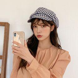 팔각모 여름 여성 깅엄체크 뉴스보이캡 모자