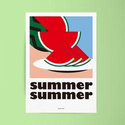 썸머썸머 M 유니크 디자인 포스터 여름 수박 A3(중형)