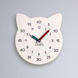 고양이 어린이 심플 무소음 교육용 벽시계