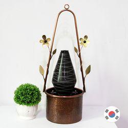 소형 도자기 꽃 동공예 실내분수대 SFS-304