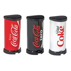 커버 코카콜라 40리터 원형 페달식 휴지통(3색상)