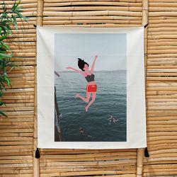 포토 행잉 패브릭 포스터 Jumping from the boat 01 (행잉M)