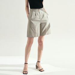 Pin tuck Banding Half Pants - Khaki