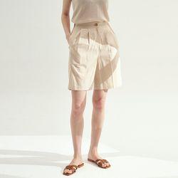 Pin tuck Banding Half Pants - Beige