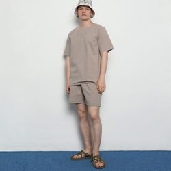 MW143 linen slit setup pants beige