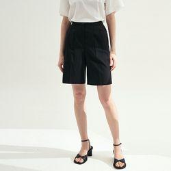 Pin tuck Banding Half Pants - Black