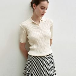 CABLE HALF KNIT [BEIGE]