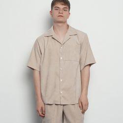 MW143 corduroy collar setup shirts beige
