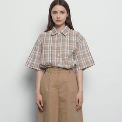 MW613 unisex classic check shirts beige