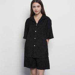 MW143 corduroy collar setup shirts black