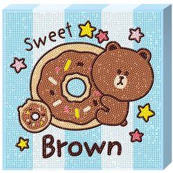라인프렌즈 도넛 브라운 캔버스 보석십자수 TPD25-403