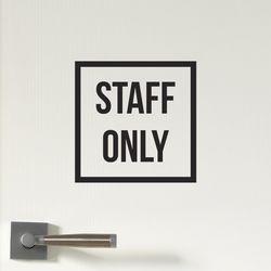정사각 심플 STAFF ONLY 직원전용 스테프온리 가게 도어스티커