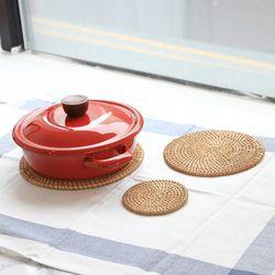 라탄 원형 3size 냄비받침 컵코스터