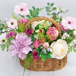다알리아 피크닉 바스켓- 조화 꽃바구니 승진 생일 기념일 축하