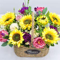 해바라기 바스켓 1- 조화 꽃바구니 생일 개업 오픈 축하