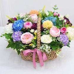 플라워믹스로즈 바스켓- 조화꽃바구니 생일 승진 기념일 장식
