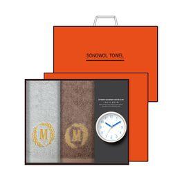 송월 타올시계선물세트(메이저150g 2p + 욕실시계 1p)+쇼핑백