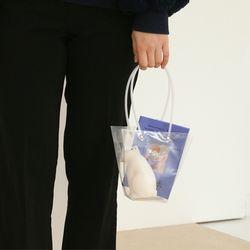 투명 pvc 꽃 화분 꽃다발 손잡이 쇼핑백 소16cm