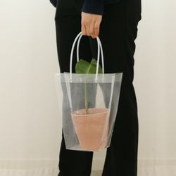 투명 pvc 꽃 화분 꽃다발 손잡이 쇼핑백 중26cm