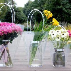 투명 pvc 꽃 화분 꽃다발 손잡이 쇼핑백 대35cm