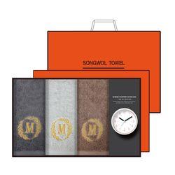 송월 타올시계선물세트(메이저150g 3p + 욕실시계 1p)+쇼핑백