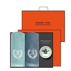 송월 타올시계선물세트(에이스150g 2p + 욕실시계 1p)+쇼핑백