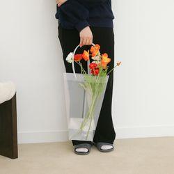 투명 pvc 꽃 화분 꽃다발 손잡이 쇼핑백 사각 특대