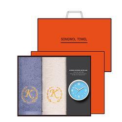 송월 타올시계선물세트(카이저160g코마40수+욕실시계)+쇼핑백