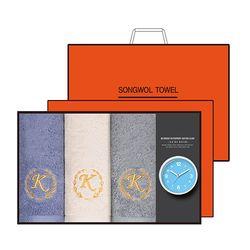 송월 타올시계선물세트(카이저160g코마40수 + 욕실시계 )+쇼핑백