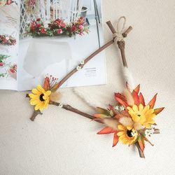 엔틱해바라기삼각리스 32cmP 조화 인테리어 꽃 FMWGFT