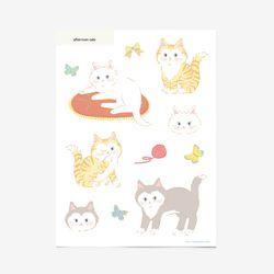 오후의 고양이 스티커(1장 낱개로 10개)