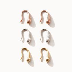 제이로렌 M03595 미니 실버 바 후프 귀걸이