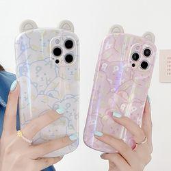 아이폰 x max se2 7 8 곰돌이 귀 오로라 실리콘케이스