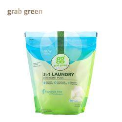 grab green 그랩그린 3in1 세탁 캡슐세제 60개입 무향