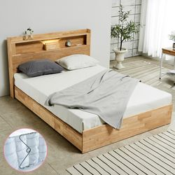 [파로마]펠드 원목 LED 퀸 침대+포켓매트