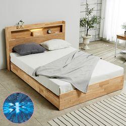 [파로마]펠드 원목 LED 퀸 침대+기본매트