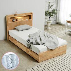 [파로마]펠드 원목 LED 슈퍼싱글 침대+포켓매트