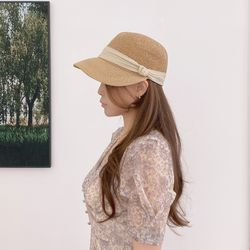 밀짚 썬캡 여성 승마 모자 왕골 라피아햇