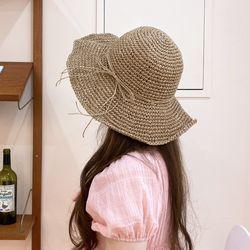 엄마아기커플 바캉스 밀짚 모자 와이어 리본 여름 라피아햇