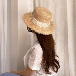 스퀘어리본 밀짚 모자 라피아햇 여자 파나마햇 보터햇
