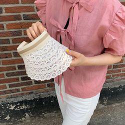 레이스 챙 여름 모자 여성 썬캡