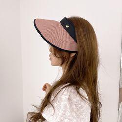리프 와이드챙 밀짚 썬캡 자외선 차단 여자 모자 5color
