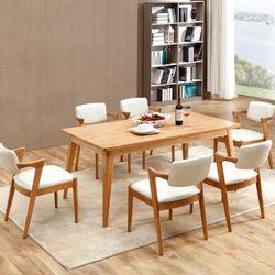 에시몬 원목 주방 테이블 의자 6인 식탁세트